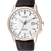 Citizen-Herren-Armbanduhr-RADIO-CONTROLLED-Analog-Quarz-Leder-CB0153-21A-0
